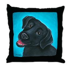 Black Lab Bunny Throw Pillow