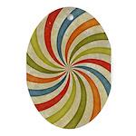 Psychedelic Retro Swirl Ornament (Oval)