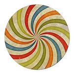 Psychedelic Retro Swirl Round Car Magnet