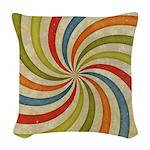 Psychedelic Retro Swirl Woven Throw Pillow