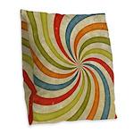 Psychedelic Retro Swirl Burlap Throw Pillow