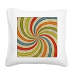 Psychedelic Retro Swirl Square Canvas Pillow
