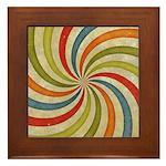 Psychedelic Retro Swirl Framed Tile