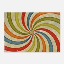 Psychedelic Retro Swirl 5'x7'Area Rug
