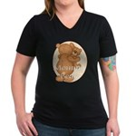 Momma Bear Women's V-Neck Dark T-Shirt
