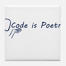 Code is Poetry Blue Tile Coaster