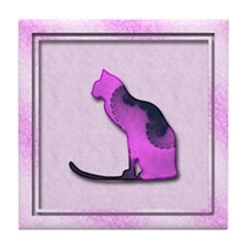 Abstract Cat Art Tile Coaster