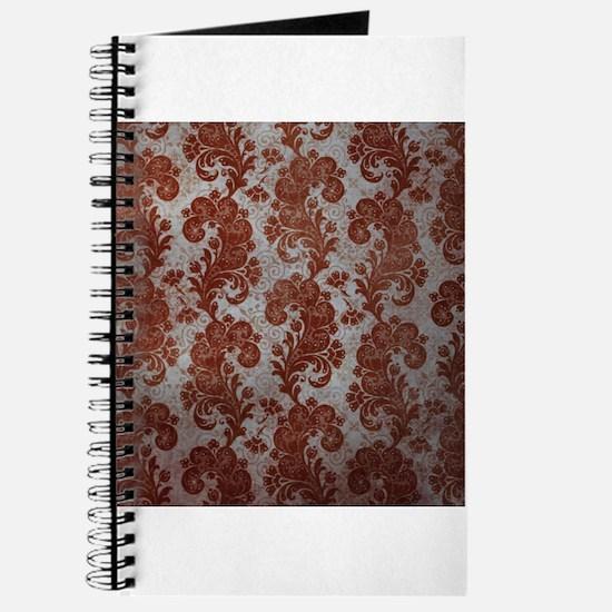 Flora Red Vintage Pattern Journal