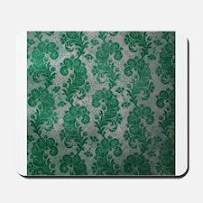 Flora Green Vintage Pattern Mousepad