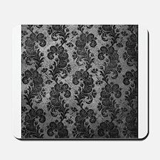 Flora Silver Gray Vintage Pattern Mousepad