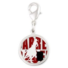 BARREL RACER [maroon] Silver Round Charm