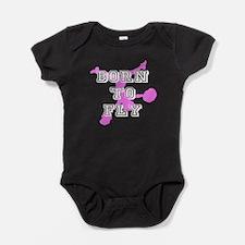 Born to Fly pink cheerleader Baby Bodysuit