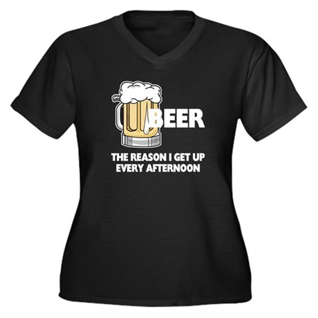 Beer Every Afternoon Women's Plus Size V-Neck Dark
