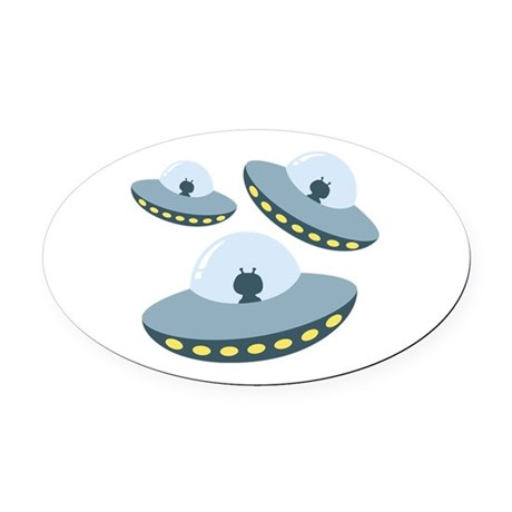 UFO Spacecrafts Oval Car Magnet by Hopscotch3