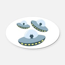 UFO Spacecrafts Oval Car Magnet