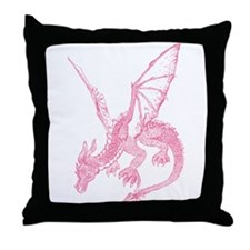Pink Firedrake Throw Pillow