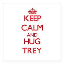"""Keep Calm and HUG Trey Square Car Magnet 3"""" x 3"""""""