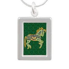Jewel Art Horse Silver Portrait Necklace