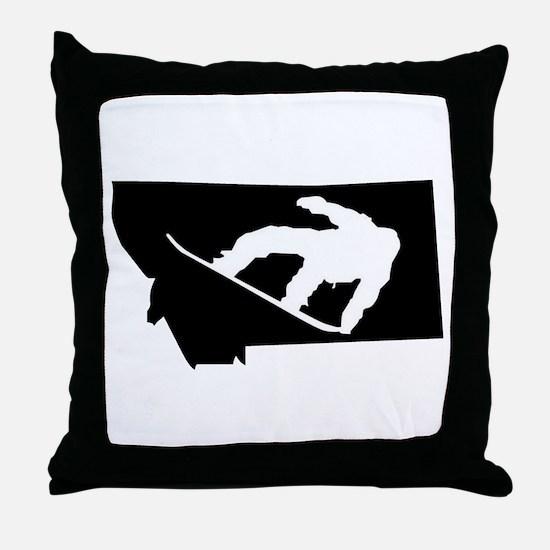 Montana Snowboarder Throw Pillow