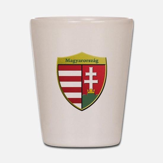 Hungary Metallic Shield Shot Glass