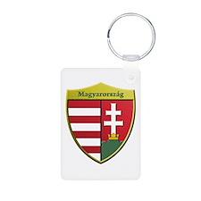 Hungary Metallic Shield Keychains