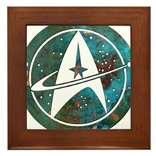Star Trek logo Steam Punk Copper Framed Tile
