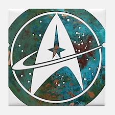 Star Trek logo Steam Punk Copper Tile Coaster