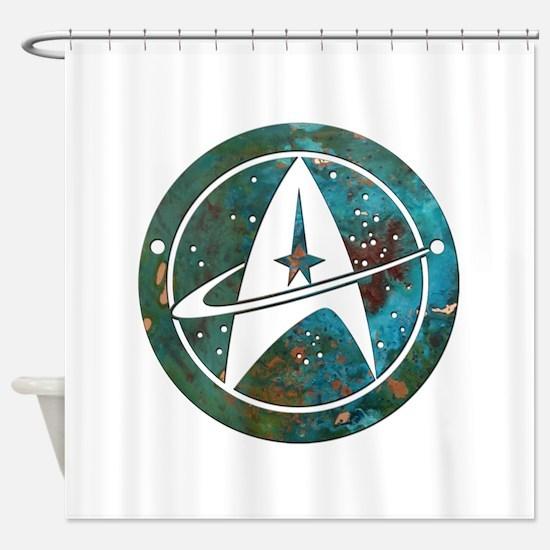 Star Trek logo Steam Punk Copper Shower Curtain