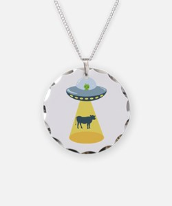 Alien Spaceship And Cow Necklace