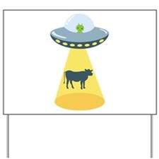 Alien Spaceship And Cow Yard Sign