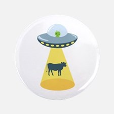 "Alien Spaceship And Cow 3.5"" Button"
