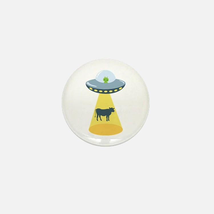 Alien Spaceship And Cow Mini Button