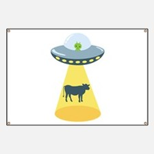 Alien Spaceship And Cow Banner
