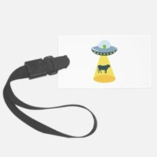 Alien Spaceship And Cow Luggage Tag
