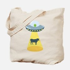 Alien Spaceship And Cow Tote Bag