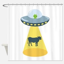 Alien Spaceship And Cow Shower Curtain