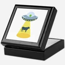 Alien Spaceship And Cow Keepsake Box