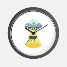 Alien Spaceship And Cow Wall Clock