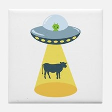 Alien Spaceship And Cow Tile Coaster