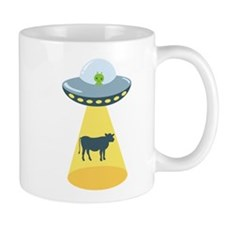 Alien Spaceship And Cow Mugs