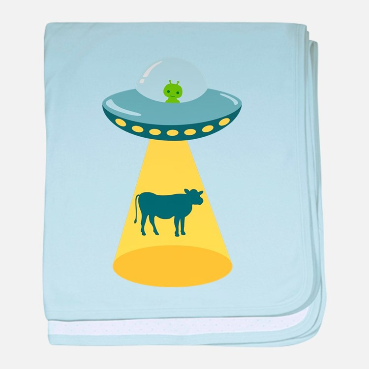 Alien Spaceship And Cow baby blanket