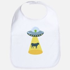 Alien Spaceship And Cow Bib