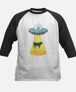 Alien Spaceship And Cow Baseball Jersey