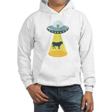 Alien Spaceship And Cow Hoodie