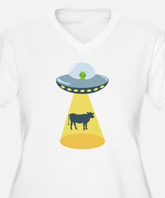 Alien Spaceship And Cow Plus Size T-Shirt