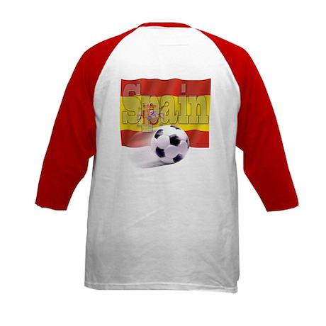 Soccer Flag Spain (B) Kids Baseball Jersey