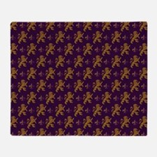Gold Lions Fleurs On Purple Throw Blanket