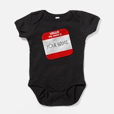 Custom Red Name Tag Baby Bodysuit