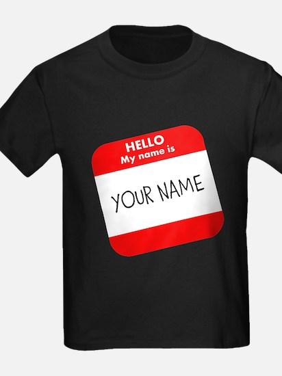 Custom Red Name Tag T-Shirt