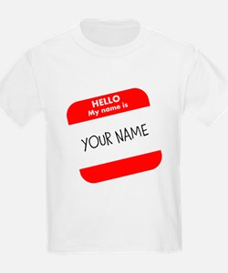 Custom Red Name Tag T-Shirt